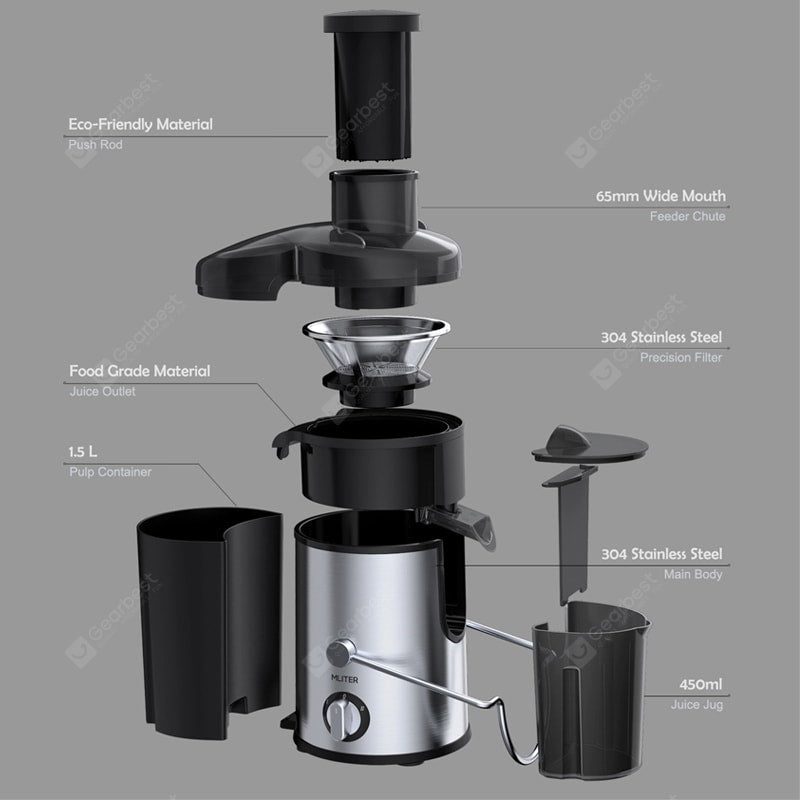 Juicer Juice Extractor Whole Fruit Juicer with 65mm Wide Mouth High Speed for Fruit Vegetable Cookware
