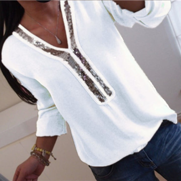 V-neck Sequins Chiffon Blouse