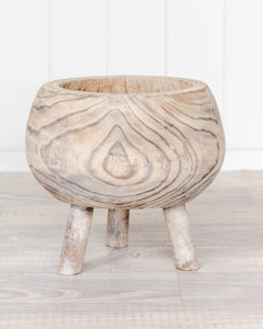 Simi Timber Pot - White Wash *PRE ORDER*