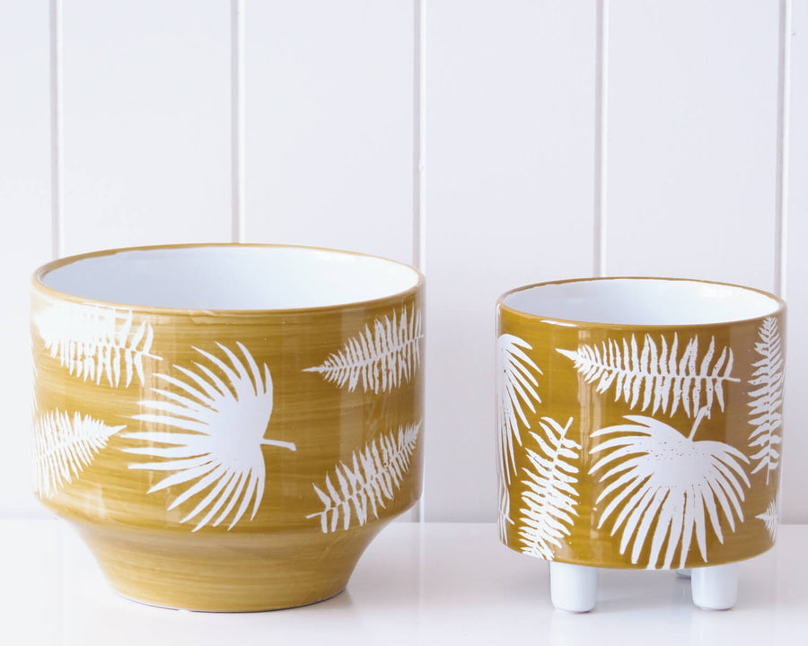 Palm Mustard Planter Pot