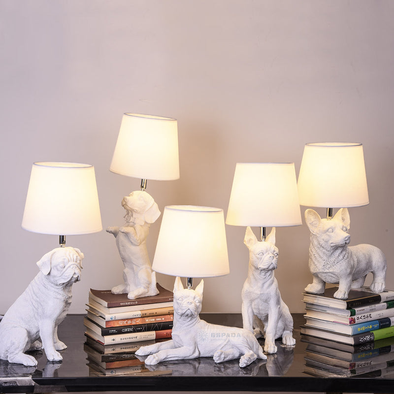Pug Table Lamp - White