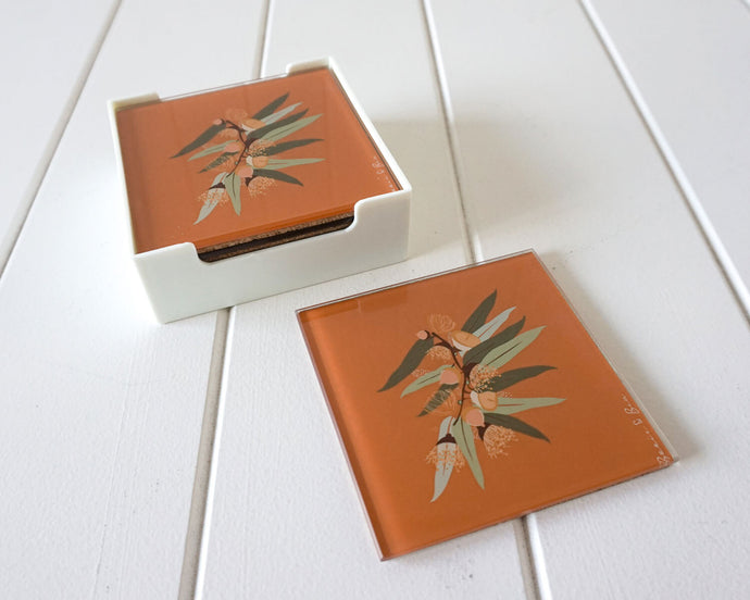 Native Gum Mustard - Glass Coaster Set