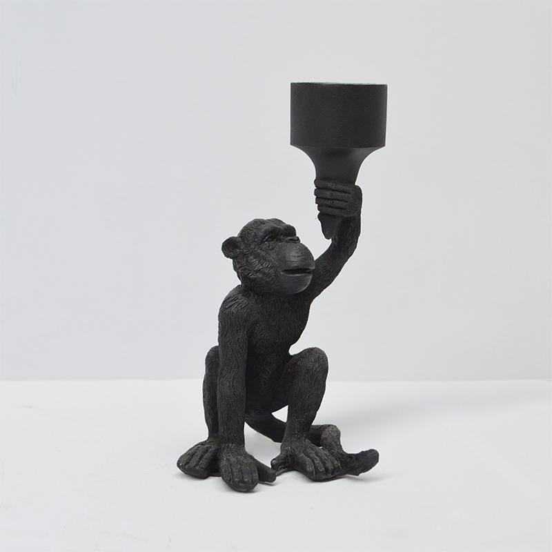 Candle Holder Monkey - Black