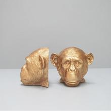 Load image into Gallery viewer, Monkey Head Bookends - Gold