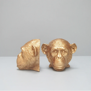 Monkey Head Bookends - Gold