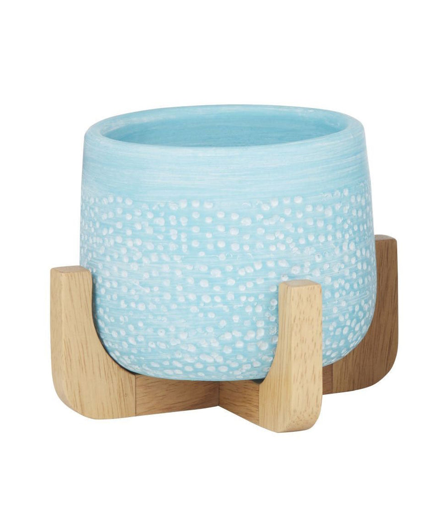 Pepe Planter Pot On Stand - Aqua Blue