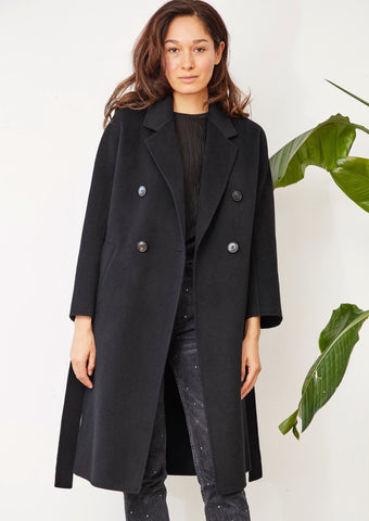 SOFIA FOUR BUTTONS COAT BLACK