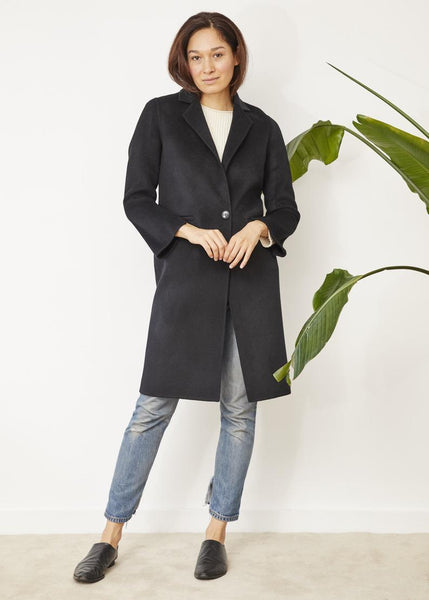 BRIGIDA ONE BUTTON COAT BLACK