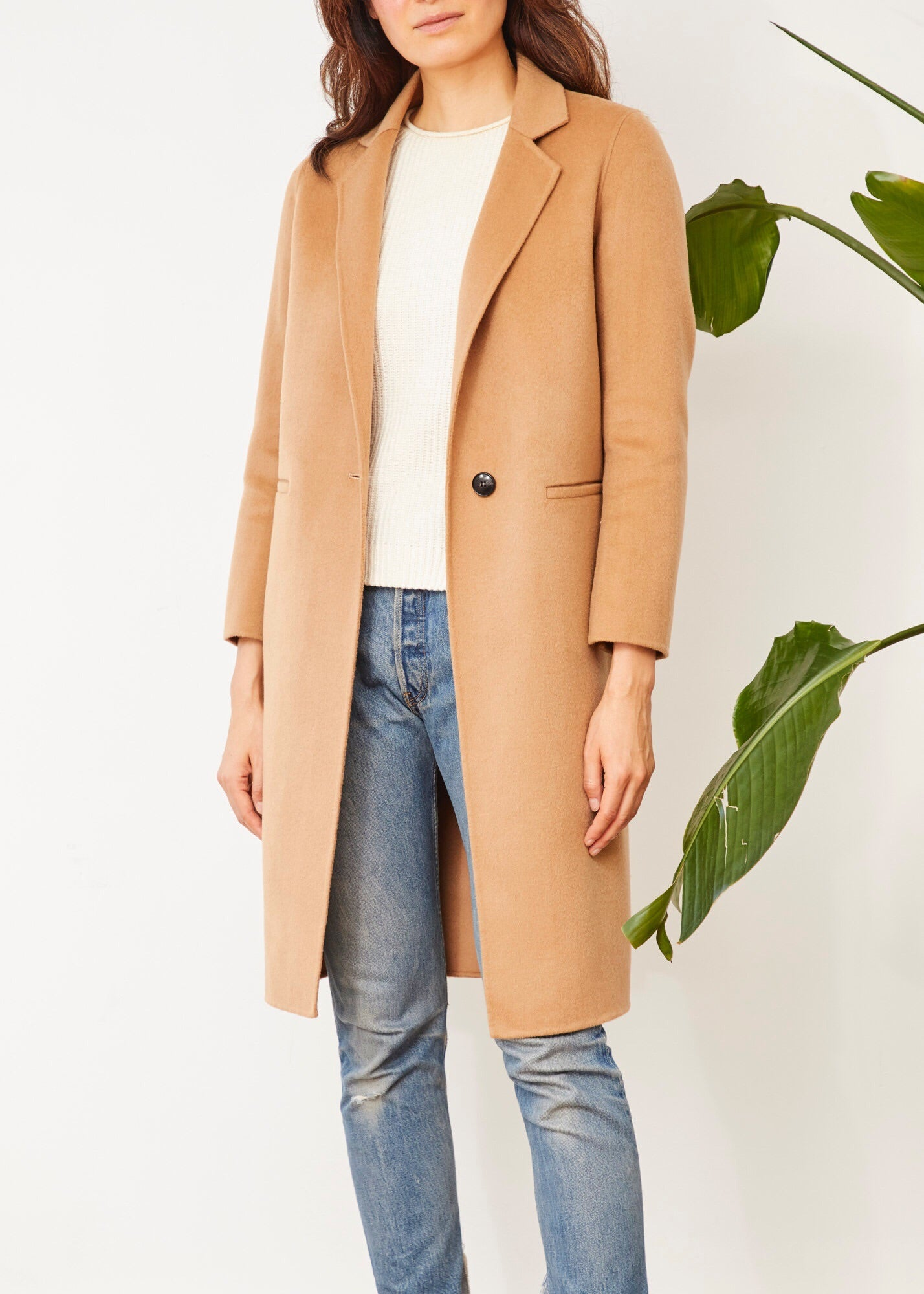 BRIGIDA ONE BUTTON COAT CAMEL