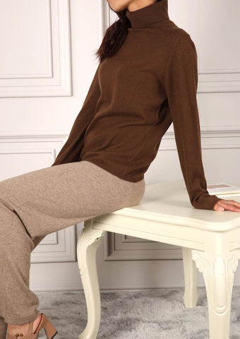 LUNA TURTLENECK SWEATER BROWN