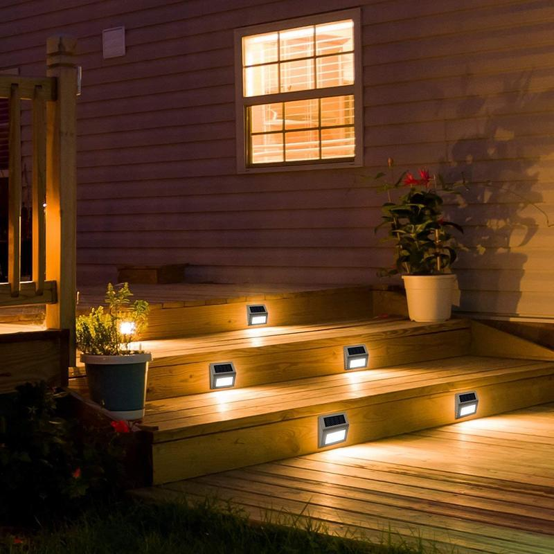 Led Solar Step Lights Outdoor for Stair, Fence, Railing,Patio Garden, Step