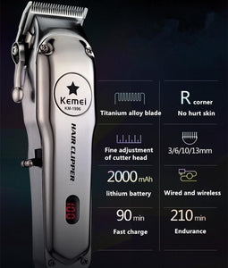 Cordless Mens Hair Trimmer Professional Electric Hair Clipper