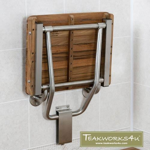 Teak ADA Shower Bench Seat Folds Up when not in use
