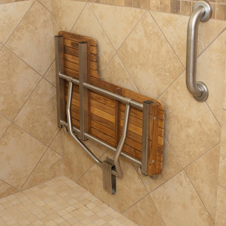Right Hand Teak ADA Shower Bench Seat Folds Up For Storage