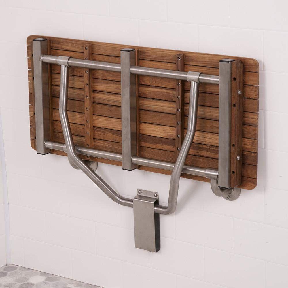 ADA Compliant Teak Shower Bench Seat Folds Up When Not in Use