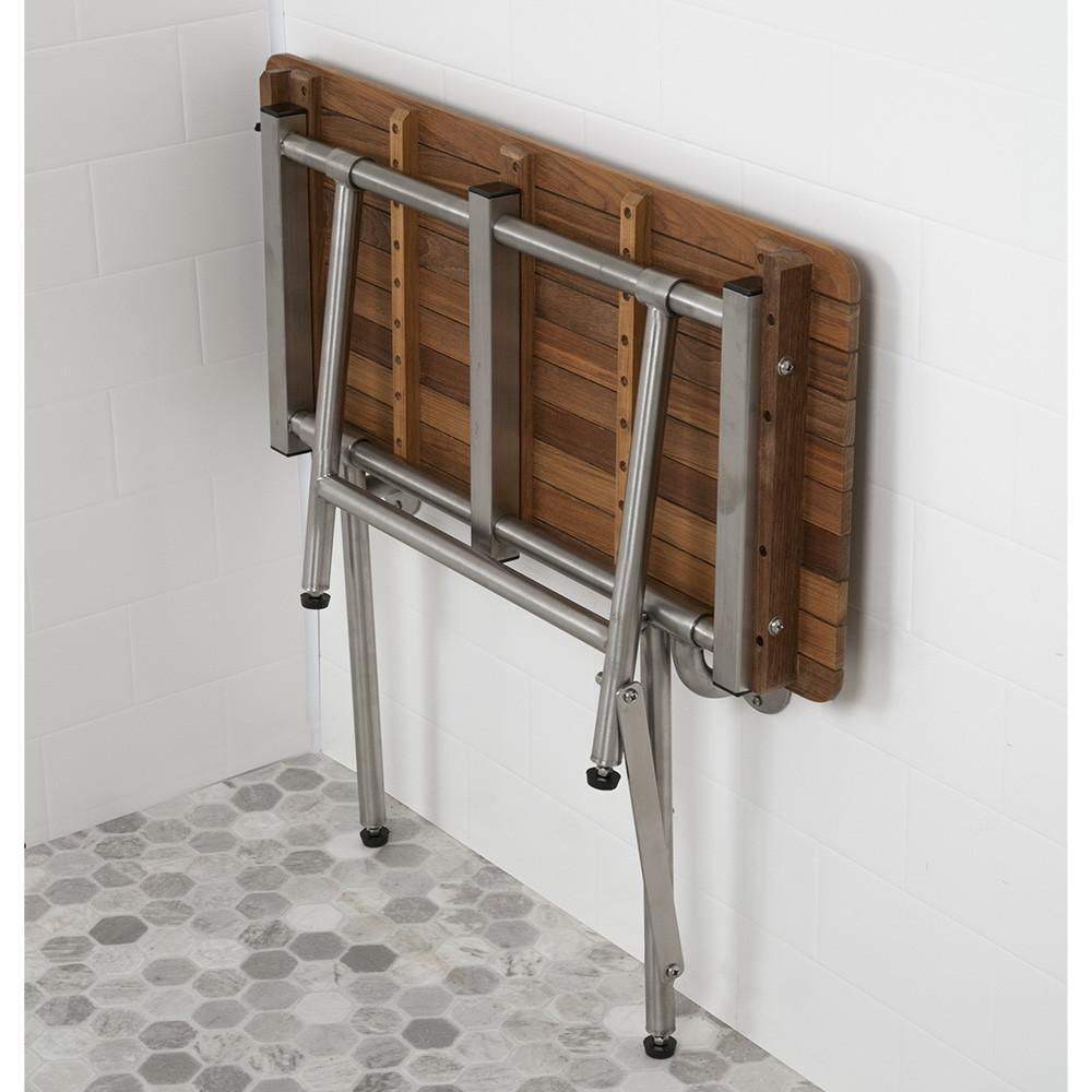 Teak ADA Shower Bench Seat with Drop Down Legs Folds up when not in use