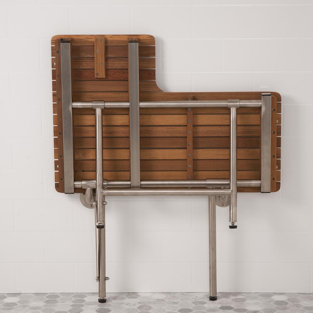 Teak Right Hand ADA Shower Bench Seat with Drop Down Legs Folds Up For Storage
