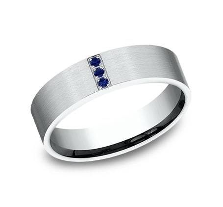 6mm White Gold Men's Wedding Ring with Sapphire Gemstones