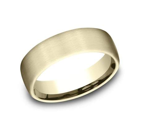 6.5mm Yellow Gold Satin Finish Sculpted Men's Wedding Ring