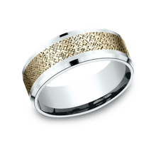 Load image into Gallery viewer, 8mm White Gold Cross Hatch Pattern Sculpted Men's Wedding Ring