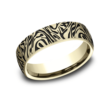 6.5mm Yellow Gold Faux Mokume Pattern Sculpted Men's Wedding Ring
