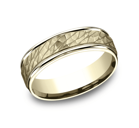 6.5mm Yellow Gold Hammered Pebbled Finish Sculpted Men's Wedding Ring