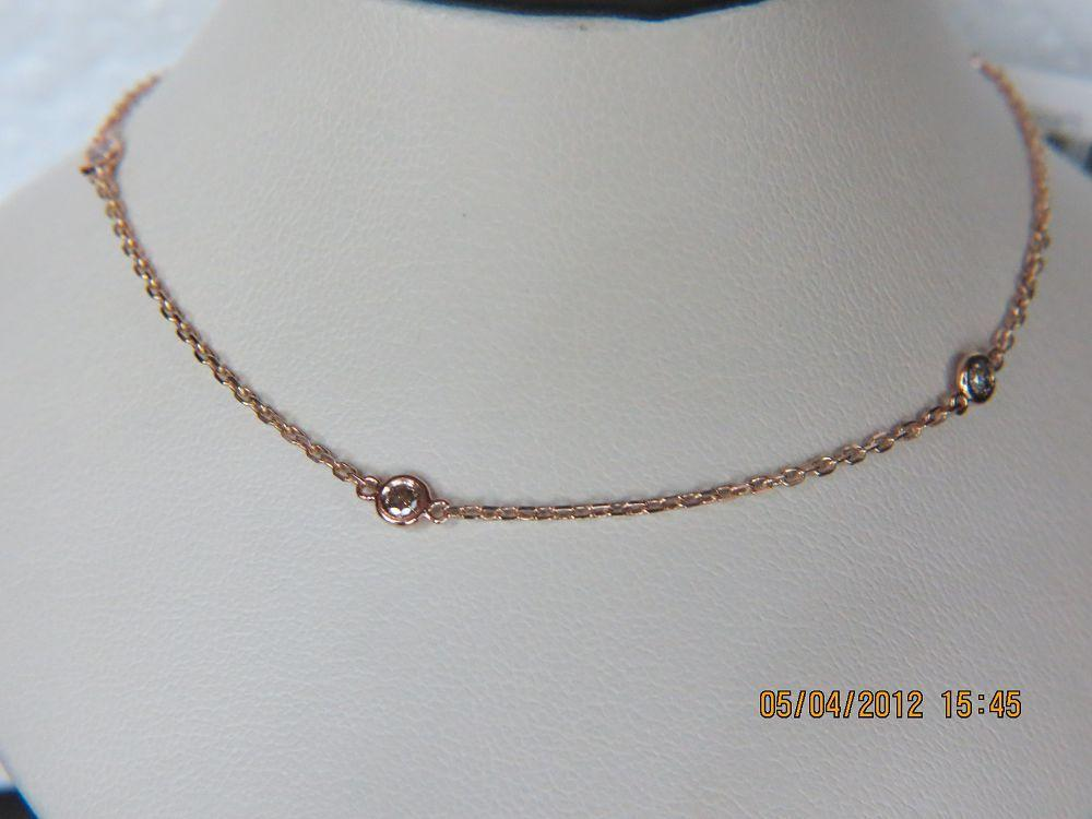 14K Rose Gold Champagne Color  Diamond by the Yard Necklace