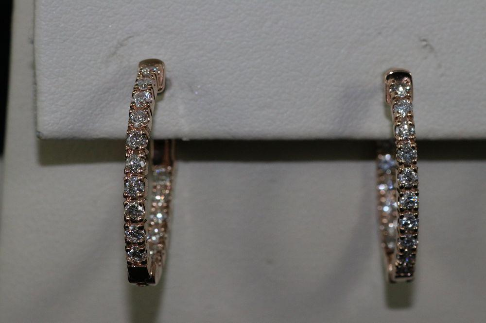 14K Rose Gold Diamond In/Out Oval Hoops