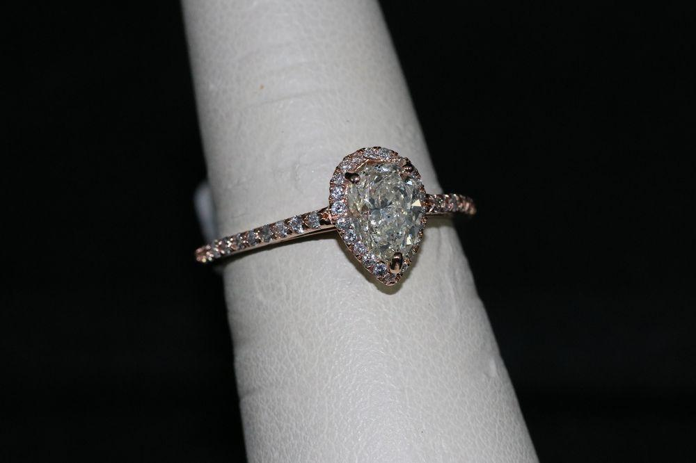 14K Rose Gold Pear Shape Engagement Ring