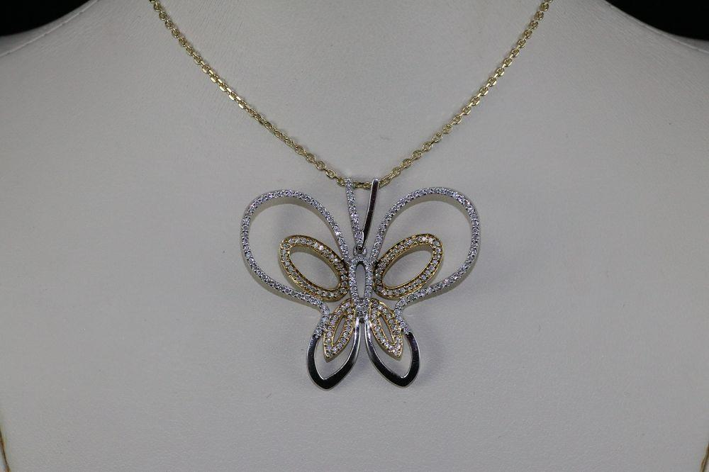 14K White and Yellow Gold Diamond Butterfly Pendant