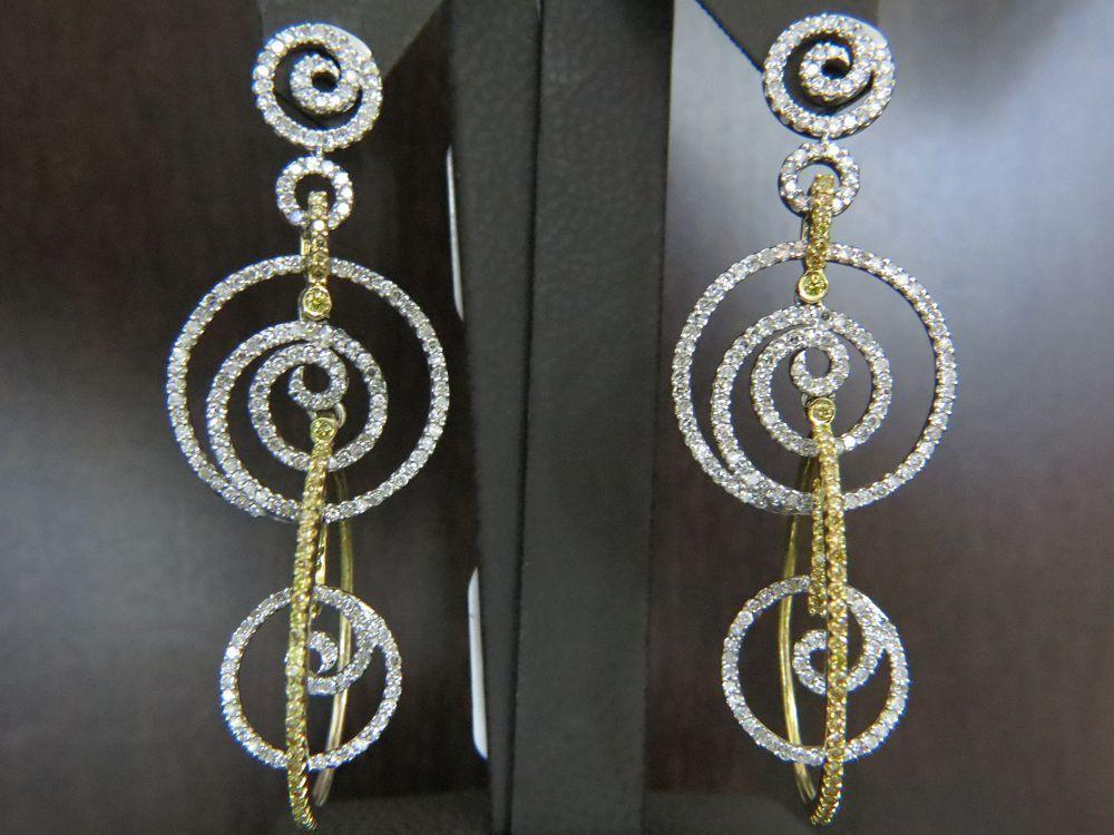14K Two Tone Gold White and Yellow Diamond Earrings
