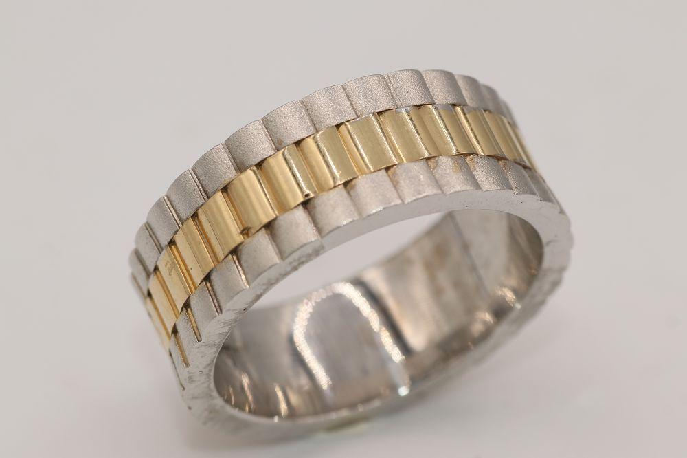 "14K White and Yellow Gold ""Rolex"" style Wedding Band"