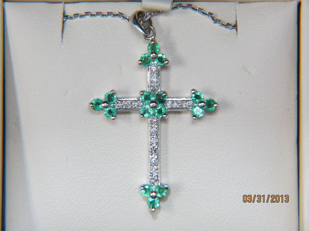Diamond and Emerald Cross Pendant