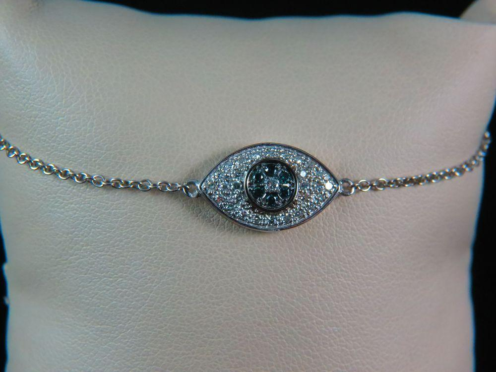 14K White Gold Diamond Evil Eye Bracelet