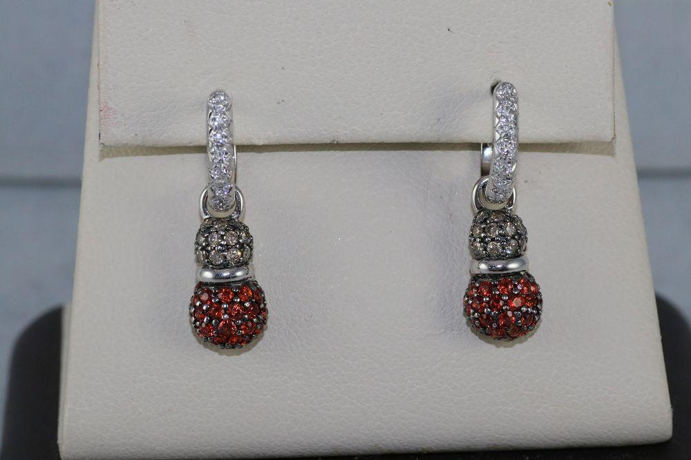 14K White Gold Orange Sapphires and Chocolate Diamond Earrings