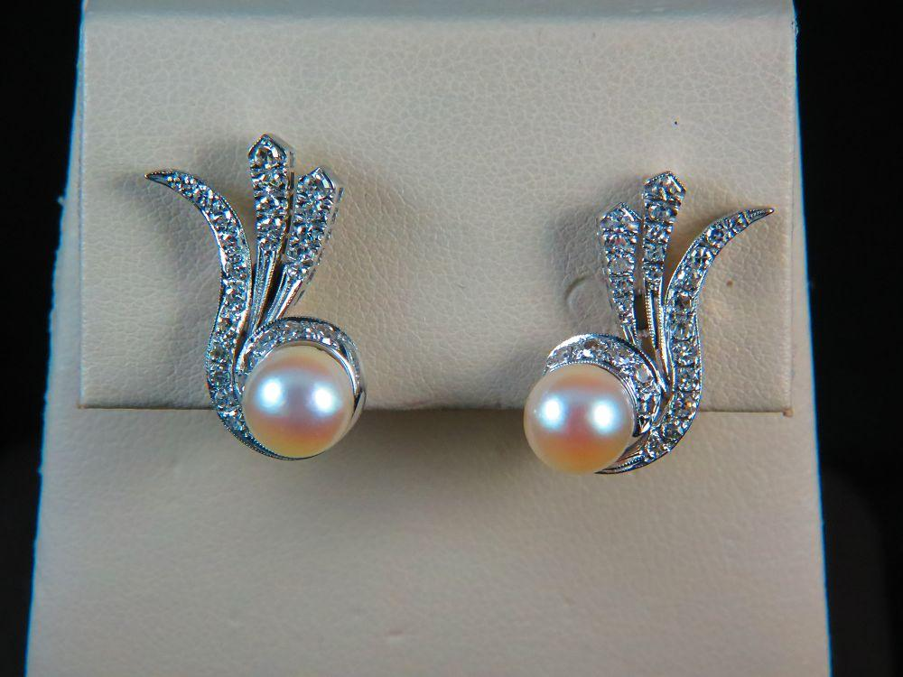 14K White Gold Vintage Pearl and Diamond Earrings