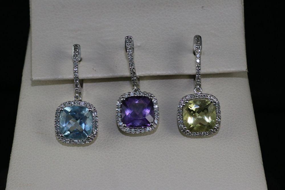 14K White Gold Semi Precious Gem Earrings