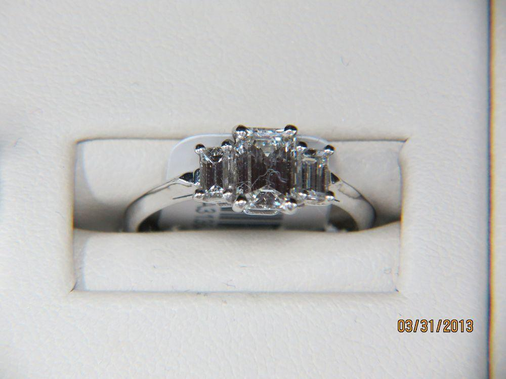 14K White Gold Present,Past, Future  Engagement Ring