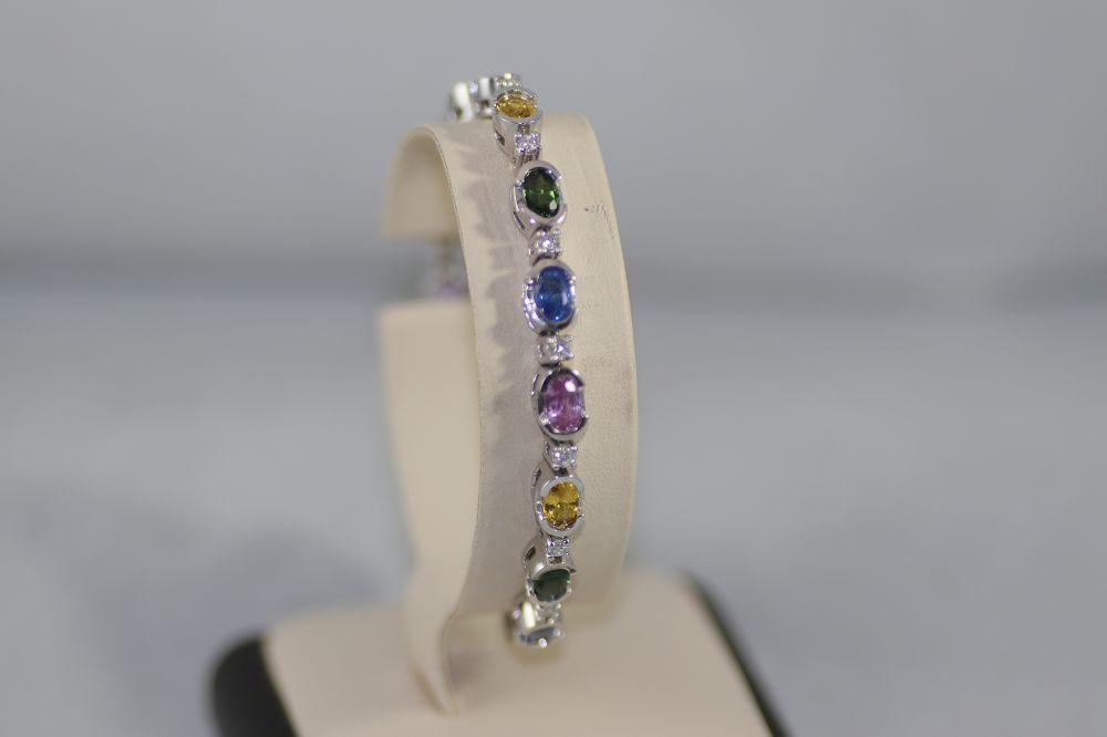 Diamond and Colored Sapphire Bracelet