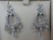 Load image into Gallery viewer, 14K White Gold Diamond Chandelier Earrings