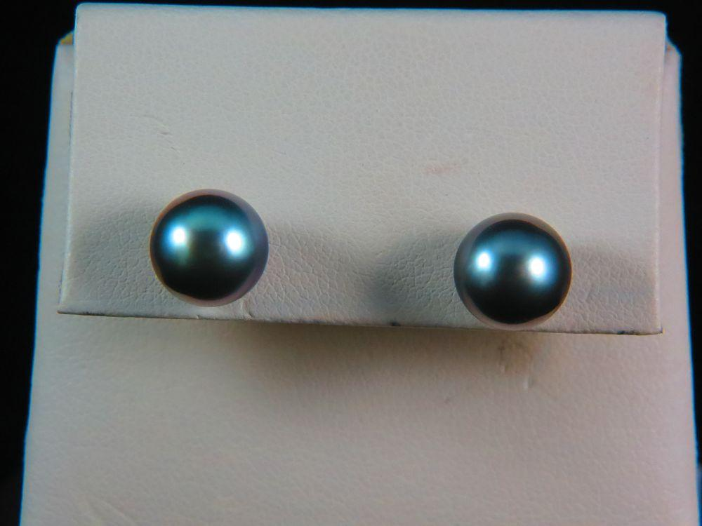 14K White Gold 10MM Tahitian Pearl Studs