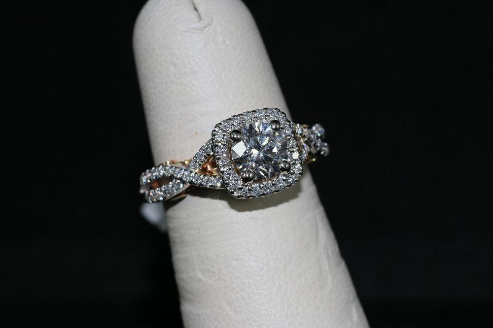 14K White/Rose Gold Diamond Center Stone Ring