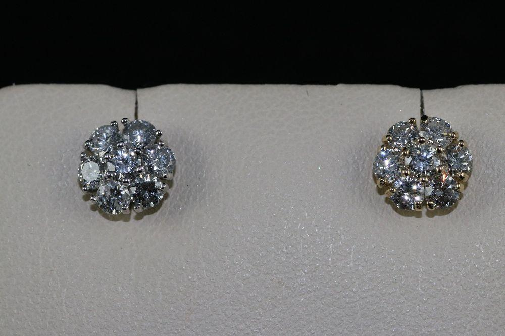 14K White/Yellow Diamond Cluster Earrings