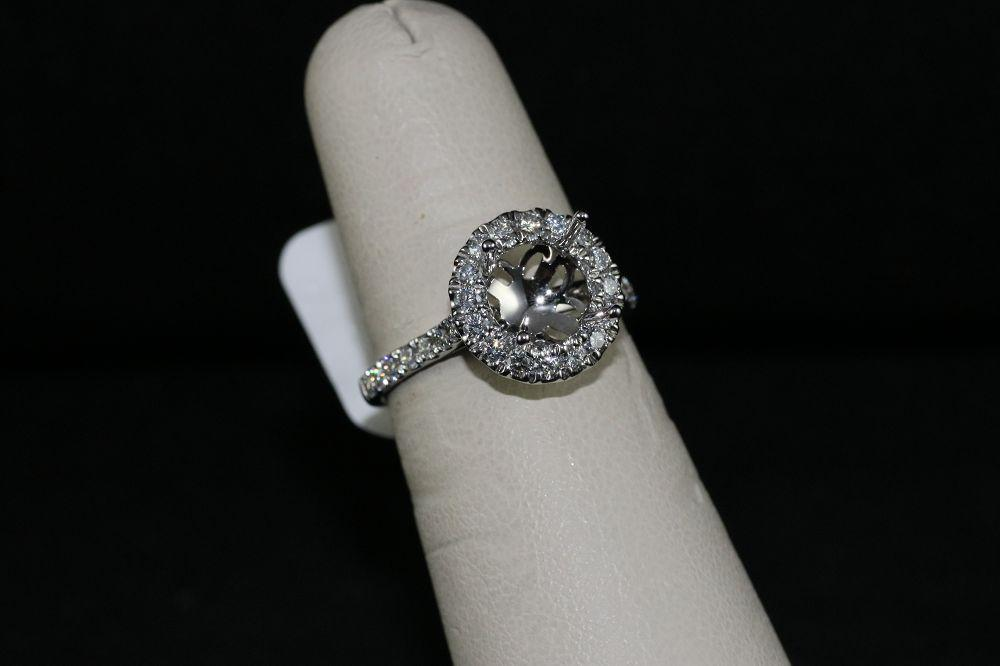 14K White Gold Engagement Ring Semi-Mount with Halo