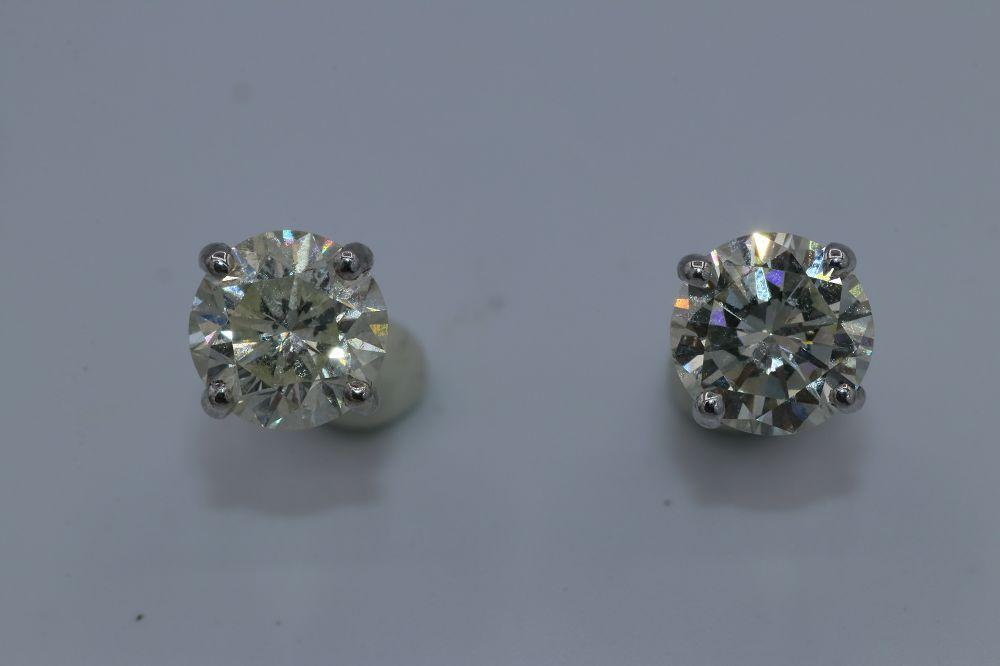 14K White Gold Diamond Studs