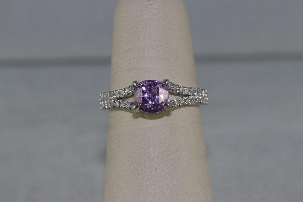 14K White Gold Pink Sapphire Center Stone Ring