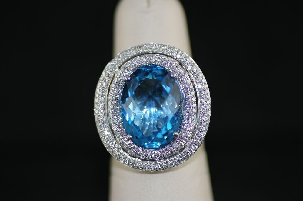 14K White Gold Oval Blue Topaz Ring with Double Diamond Halo