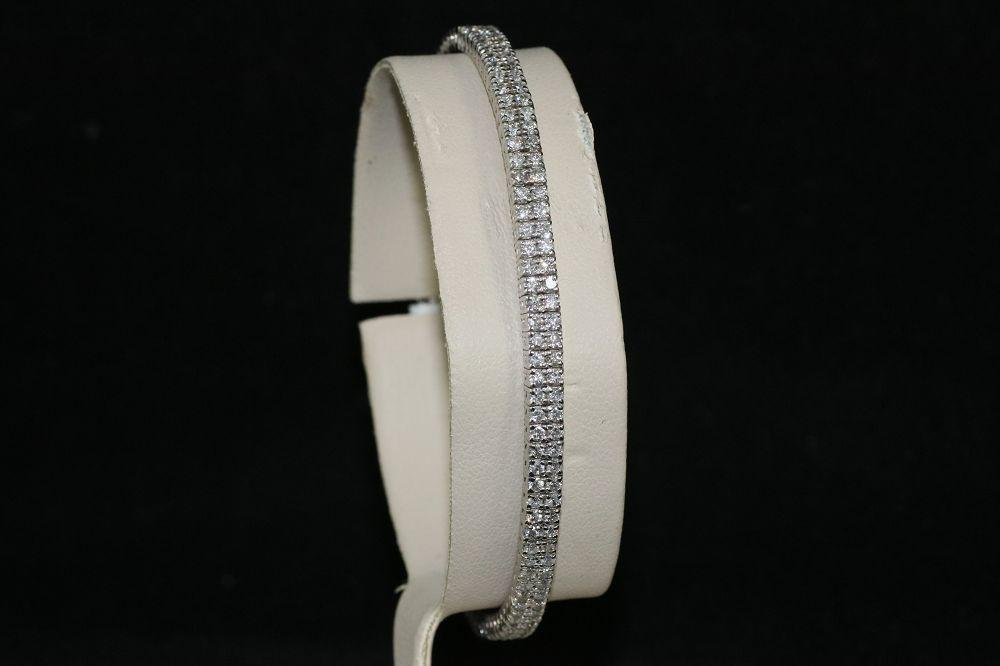 14K White Gold 2.00 Ct. Two Row Diamond Bangle