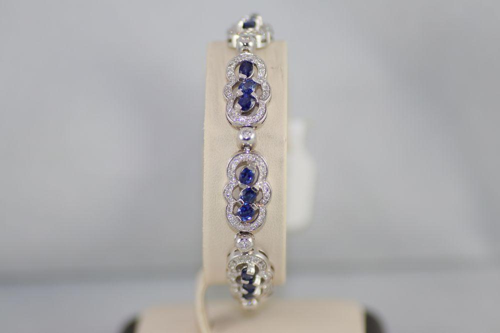14K White Gold Sapphire Bracelet with Diamonds