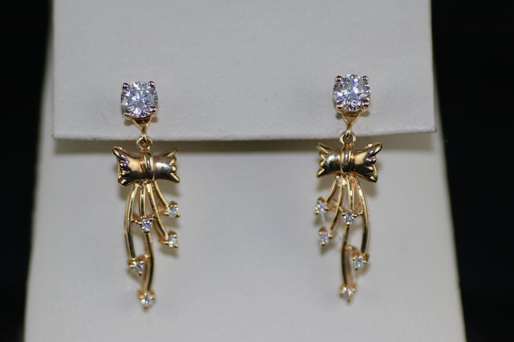 14K Yellow Gold Diamond Studs